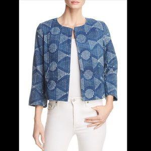 Eileen Fisher Cotton Collarless Cropped Blazer